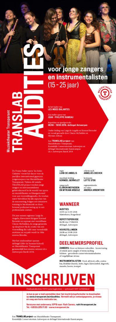 Audities Muziektheater Transparant voor leerlingen klassieke zangles